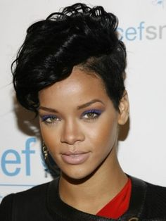 Rihanna front curly pixie, buzzed, growing out sides