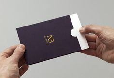 Logo and note card design with purple paper and gold foil detail for florist NB Flowers created by Karoshi.