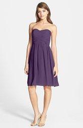 Donna Morgan 'Sarah' Strapless Ruched Chiffon Dress