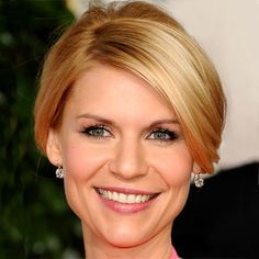 Updo - Face frame Shots: Claire Danes A deep side part and cheekbone skimming layers give Danes's hairstyle a sophisticated shape. Hairstylist Peter Butler teased the strands at the crown just enough to add lift and a tiny bit of retro sex appeal before pinning the length into a low, tidy bun.