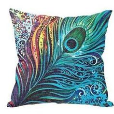 "Blue Feathers Home Decor Zip Cotton Linen Cushion Cover Pillow  18""/45cm #Unbranded"