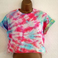 Cotton Crew Neck Cropped Casual Other Women's Tops Hipster Grunge, Ibiza, Tie Dye Crop Top, Crop Tops, Other Woman, Retro, Crew Neck, Vintage, My Style