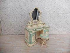 Details about  1:12 Dollhouse Miniature Furniture Hand Painted Belmont Blue Bedroom Set Vanity