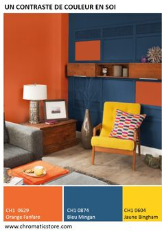This space is another complementary color scheme. The orange and blue make each other pop and are opposite of each other on the color wheel. The yellow is also very close to the orange on the color wheel and help with the colors complementing each other. Room Paint Colors, Paint Colors For Home, Living Room Colors, Bedroom Colors, House Colors, Living Room Decor, Split Complementary Color Scheme, Room Color Schemes, Home And Deco