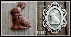 DIY Glittered Chocolate Bunnies Tutorial Chocolate Bunny, Bunnies, Glitter, Easter, Let It Be, Holidays, Play, Frame, Picture Frame