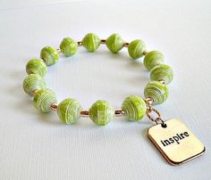 Lime Green Inspire Paper Bead Stretch Bangle Bracelet ♥ by itsmolly