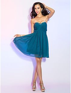 A-Line+Sweetheart+Knee+Length+Chiffon+Cocktail+Party+Dress+with+Beading+Criss+Cross+by+TS+Couture®+–+GBP+£+238.41
