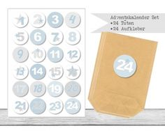 "www.papierbuedchen.de - DIY Adventskalender \"" Tüten & Aufkleber \"" (K17)"
