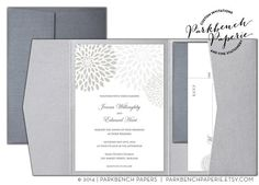 Editable Wedding Invitation, RSVP card, and Insert Card- Pocket Fold - Silver Mums - Word Template, Instant Download, Printable
