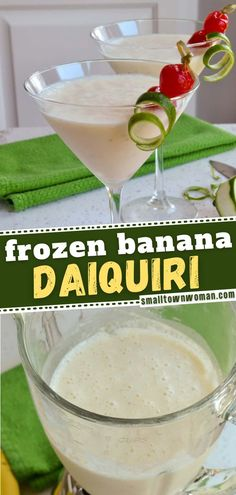 5 reviews · 5 minutes · Serves 2 · The most refreshing spring and summer drink that is so quick and easy to make! Frozen Banana Daiquiri is only made with 6 easy ingredients and ready in just 5 minutes. This indulgent treat is easy… Summer Desserts, Summer Drinks, Fun Drinks, Summer Recipes, Summer Food, Beverages, Frozen Drink Recipes, Frozen Drinks, Cocktail Recipes