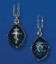 Egg Pendant, Fabergé style with three-bar cross, blue, chain included Pocket Watch, Pendants, Drop Earrings, Personalized Items, Chain, Silver, Gifts, Blue, Accessories