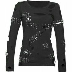 *Girl's punk top with holes and safety-pins ropa rockera *Girl& punk top with holes and safety-pins - . Punk Outfits, Gothic Outfits, Cool Outfits, Dark Fashion, Gothic Fashion, Shirts With Holes, Punk Mode, Lolita Mode, Vintage Goth