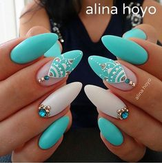 These look perfect! Beautiful nail art design   Almond nails,  nail art design   Stiletto nails