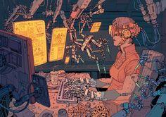 Cyberpunk Illustrations of a Dystopian Future - Creators Arte Cyberpunk, Cyberpunk Aesthetic, Illustrations, Illustration Art, Character Art, Character Design, Dystopian Future, Landsknecht, Ligne Claire