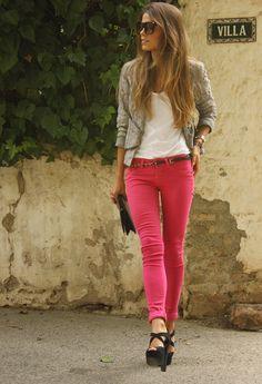 Hot pink and gray.