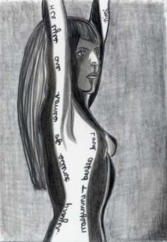 Silent - pencil drawing - female nude - aceo mini print - small art (2.5 x 3.5) - with poet Lord Alfred Tennyson quote - in mirror writing