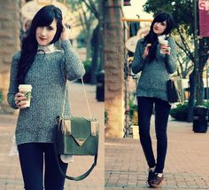ROMWE.COM - long cozy sweater, skinny jeans, a cool purse, and a cup of coffee. Yes please. I wouldn't mind trying the long sweater-collared shirt combo also