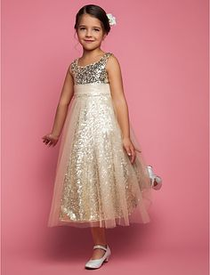 My little lady would love this dress, abd it totally fits the dress theme! - A-line Princess Jewel Tea-length Tulle Flower Girl Dress (551499)
