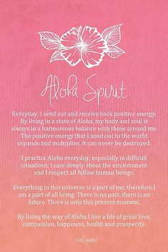 Affirmation - Aloha Spirit by CarlyMarie - Hawaii Positive Thoughts, Positive Vibes, Mantra, Motto, Inspirierender Text, Hand Der Fatima, Aloha Spirit, Mind Body Soul, Me Quotes