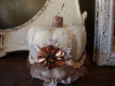 White pumpkin fall decor | White Pumpkin table decor for fall Shabby glittered ivory beige ...