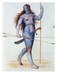 "According to the author, this full body tattoo on a female warrior is an ""astronomical bodysuit"", probably made from woad, and applied as a paint or dye before going into battle. Pictish (Scotland)."