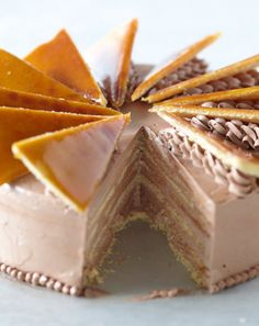 Dobos torte or Dobosh is a Hungarian cake named after its inventor, a well-known… Austrian Desserts, Hungarian Desserts, Hungarian Recipes, Hungarian Food, Hungarian Cake, German Baking, British Baking, Cupcakes, Cupcake Cakes