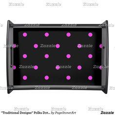 """Traditional Designs"" Polka Dot/ Lg Black & Pink Serving Tray"