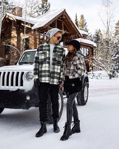 fashion blogger mia mia mine wearing a shacket outfit for winter at jackson hole with leather leggings and chanel combat boots. her husband wears a plaid flannel with black denim and lace up boots for men. click through for more matching couples outfits, cute couples winter photos, my favorite winter vacation, and shirt jacket outfits. #couplegoals #snowoutfit #wintertrends #jacksonhole Spanx Faux Leather Leggings, Black Leather Gloves, Patent Leather, Vinyl Leggings, Red Leggings, Prada Cahier Bag, Palm Springs Mini Backpack, Givenchy Sunglasses, Cute Couple Outfits