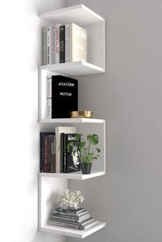 Bookshelves In Bedroom, Corner Bookshelves, Corner Wall Shelves, Wall Shelves Design, Bookshelf Design, Bookshelf Wall, Small Bookshelf, Corner Wall Decor, Book Wall Shelf