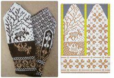 Double Knitting Patterns, Crochet Mittens Free Pattern, Fair Isle Knitting Patterns, Bead Loom Patterns, Knit Mittens, Knitting Charts, Knitting Socks, Knit Crochet, Yarn Wig