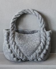 This felted bobble and cable knit bag is great to hold all your travel crafting supplies and projects. Try it in Fishermen's Wool. Pattern by Lana Grossa.