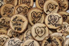 Rustic,woodland charm for the outdoorsy bride and her guests. Bridal shower favors with magnets on the reverse. Hearts with the couple's initials written inside. Made with an inexpensive wood burning tool. My father cut the wood from a fallen branch in his yard.To give it a more polished look and a better hand I finished the magnets with a few coats of poly-acrylic. I wouldn't recommend Polyurethane, as it was too absorbent for the wood and required several coats for a noticeable sheen.