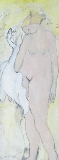 """'Leda and the Swan"""" Oil and charcoal on paper, Gigi Mills"""