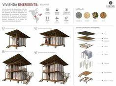 vivienda emergente ecuador Floating Architecture, Temporary Architecture, Bamboo Architecture, Architecture Board, House Sketch, Exhibition Booth Design, A Frame House, Social Housing, Building Design