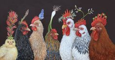 chickens by vicki sawyer Chicken Painting, Chicken Art, Deco Champetre, Rooster Art, Rooster Funny, Chickens And Roosters, Galo, Coq, Whimsical Art