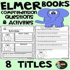 Elmer Books Comprehension Questions and Activities Snow Activities, Comprehension Questions, Day Book, Close Reading, 100 Days Of School, Christmas Books, Teacher Pay Teachers, Literacy, Writing