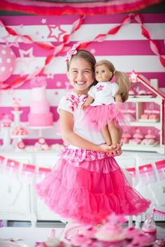 Gorgeous Ombre American Girl Doll party ideas for little girls or big girls! Great theme for any time of the year. Girlie Dollie tea party!