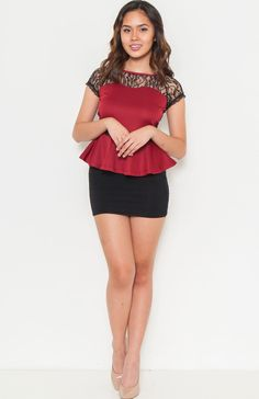round neck short sleeve peplum top featuring sheer lace neckline sheer lace back with keyhole