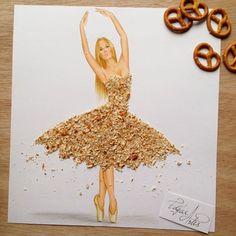 Dress made of crushed pretzels by Edgar Artis
