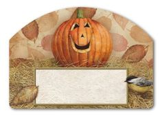 """Pumpkin Pals Address Sign by Magnet Works. $11.99. Includes 2 sets of adhesive address numbers.. Magnetic address plaque measures 14"""" x 10"""".. Attaches to our metal Yard DeSigns Stake]:popup=http://www.flagsonastick.com/product/H100/Yard-DeSig. Magnetic address sign by Yard DeSigns. Adorable chickadee perched on jack-0-lantern. Created by Artist Tim Coffey. Address plaques are screen-printed and vinyl coated for vivid long-lasting color and are reuseable. Yard D..."""
