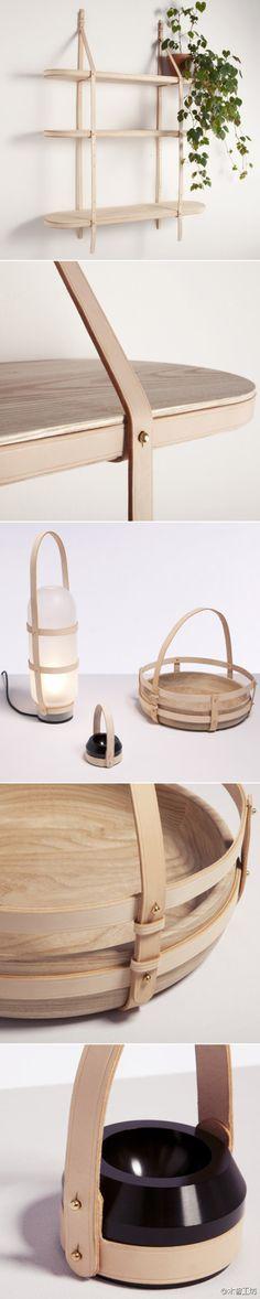 Leather and Wood Shelf / Læder og Træ Hylde