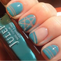 Negative space tape mani I love the star