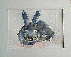 Funny Bunny original watercolour painting by MyCoveArt on Etsy Funny Bunnies, Watercolour Painting, Bunny, Paintings, The Originals, Unique Jewelry, Handmade Gifts, Etsy, Vintage