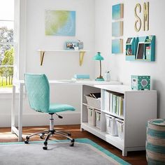 Fresh and spacious aqua and lime green home office with gold accents #desk #officechair