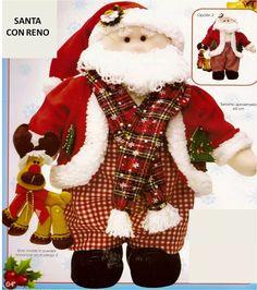 Patrón Noel con reno navideño Christmas Stockings, Christmas Ornaments, Reno, Diy And Crafts, Santa, Dolls, Sewing, Holiday Decor, Home Decor