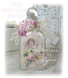 Beautiful Bejeweled Bottle 80 Angel & Roses Embellished Hand Decorated Originals By Lynn-pink, roses, shabby, chic, ruffles, Victorian, Vintage, Lynn, Barkcloth, PINK, cottage, white, Brundage,bottle