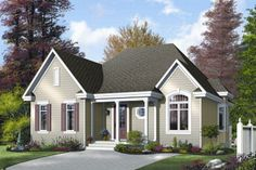 Country, European, Bungalow, Contemporary House Plans - Home Design # 12292 Bungalow Style House, Cottage Style House Plans, Bungalow House Plans, Cottage Style Homes, Country House Plans, Brick House Plans, Small House Plans, Plan Chalet, Drummond House Plans