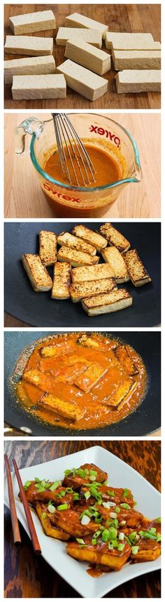 SPICY VEGAN PEANUT BUTTER TOFU WITH SRIRACHA (makes 4 servings)  ~~~~~  extra firm tofu, oil, fresh garlic, fresh ginger, green onions; SAUCE: soy sauce, rice vinegar, smooth peanut butter, agave nectar, vegetable stock, Sriracha hot sauce