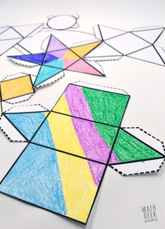 This easy to use printable set of foldable shapes can be used for all sorts of math learning! Plus, let kids get creative and turn it into a math and art lesson in one! 3d Shapes Activities, 3d Shapes Worksheets, Geometry Activities, Space Activities, Learning Shapes, Math Worksheets, 2d And 3d Shapes, Geometric Shapes, 3d Shapes For Kids