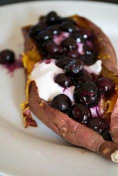 COMFORT BITES: Blueberry Topped Baked Sweet Potato (AIP, Paleo, Vegan)